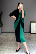 Casual V-neck Patchwork Elegant Pleated Dress