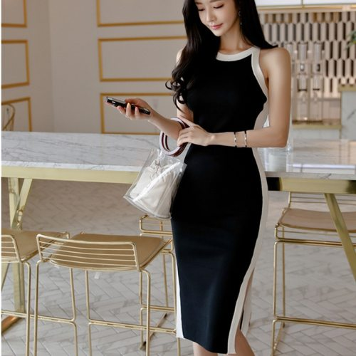 Sleeveless Colorblock Chic Knitted Bodycon Dresses