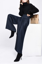 Wool Trousers High Waist Pleated Wide Leg Pants Capris