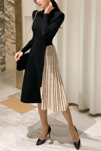 Knitted Sweater Dress Waistband Pleated Midi Dresses