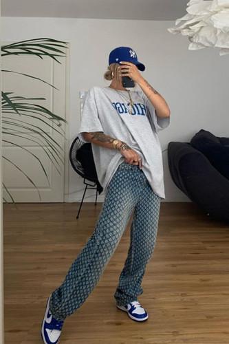 Plaid Hollow Out Hip Hop Pants Y2K High Waist Loose Trousers