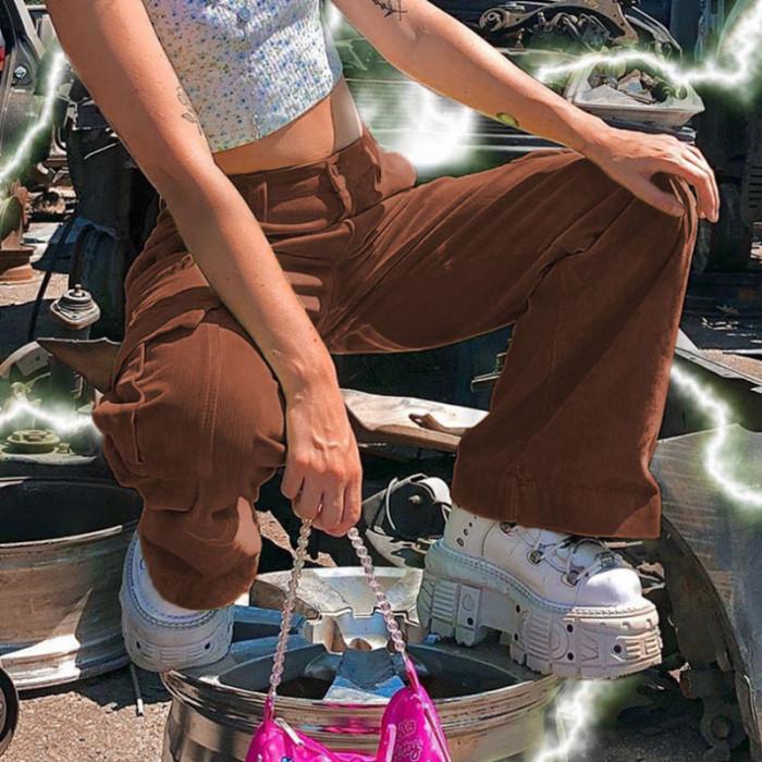 Y2k Corduory Pants E-girl Wide Leg Loose Trousers