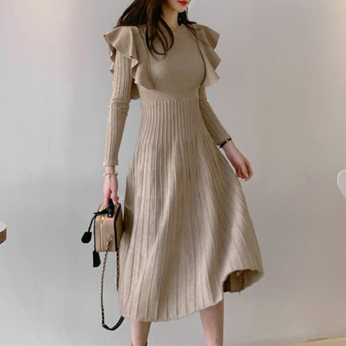 Vintage Elegant Knitted Sweater Dress Slim Outfits