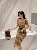 Women Square Collar Mesh Polka Dot Bodycon Dress