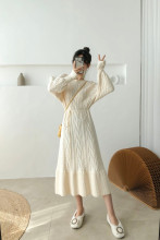 Long Sleeve Tie Up Knitted Sweater Dresses