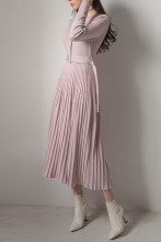 Sexy V-Neck Long Sleeve Knit Sweater Dress Pleated Dresses