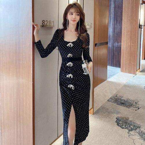 Women's Square Collar Vintage Elegant Velvet Dress