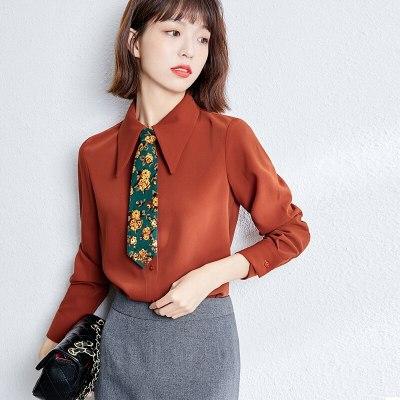 Women's Long Sleeve Vintage Loose Chiffon Blouses