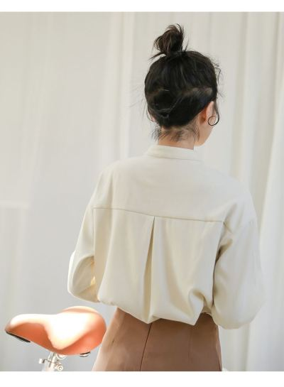 Stand Collar Shirts Long Sleeve Sweet Style Tops