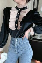 Ruffled Puff Sleeve Chic Velvet Blouse Top