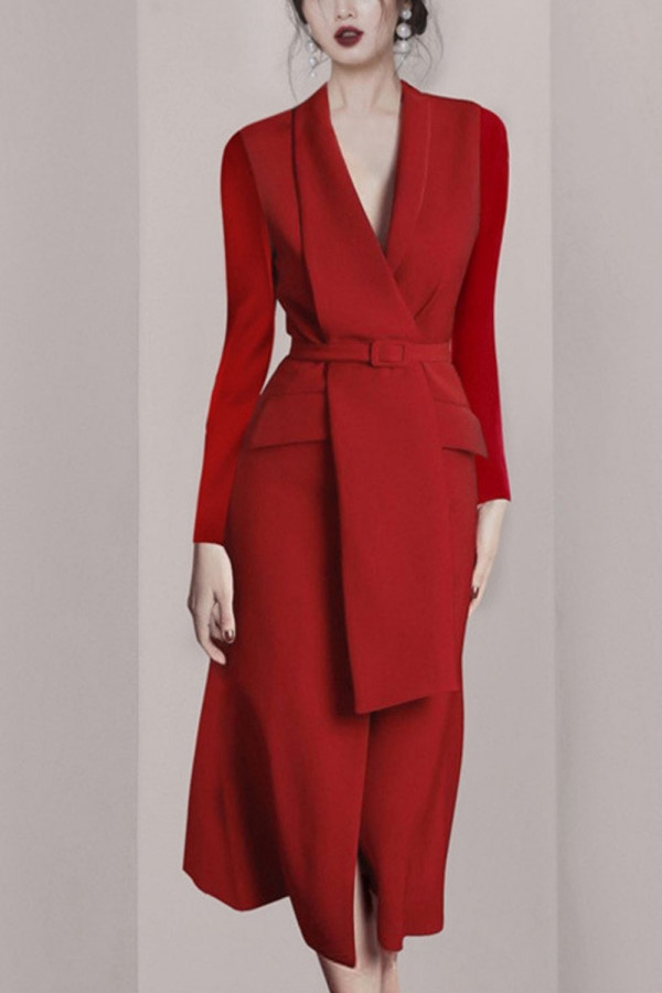 Business Elegant Notched Neck Slim Bodycon Dresses