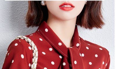 Polka Dot Blouses Formal Office Lady Bow Tie Chiffon Tops