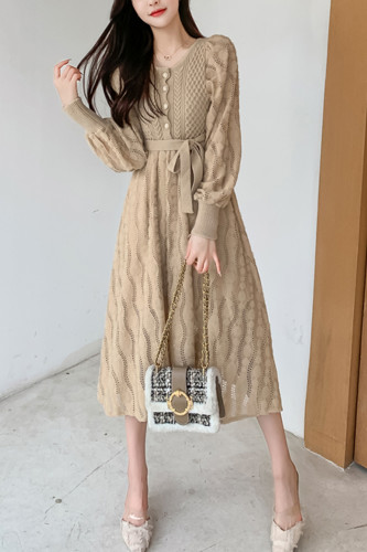 Lantern Sleeve Patchwork Slim Knitted Dresses