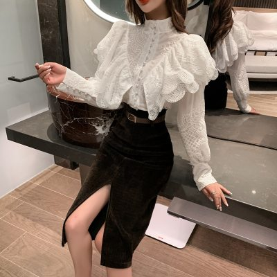 Stand Collar Ruffles Lantern Sleeve Embroidery Lace Blouse