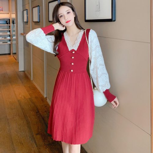 Elegant Sweater Dresses Lace Patchwork A-Line Dresses