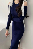 Vintage Patchwork Bow Strapless Dress Long Sleeve Knitted Pullovers