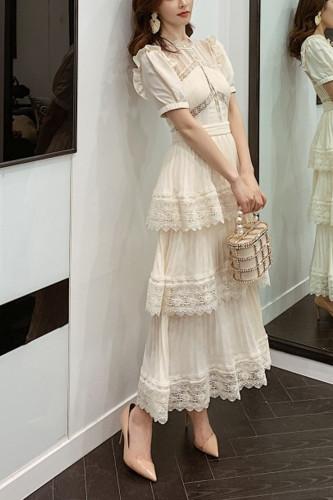 Lace Long Dress Short Sleeve Ruffle Summer Dresses