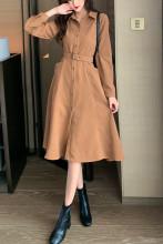 Women Turn Down Collar Pleated Casual Dress