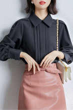 Women Lantern Sleeve Chiffon Blouse