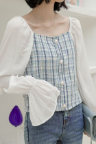Womens Flare Sleeve Blouses Tweed Patwork Tops