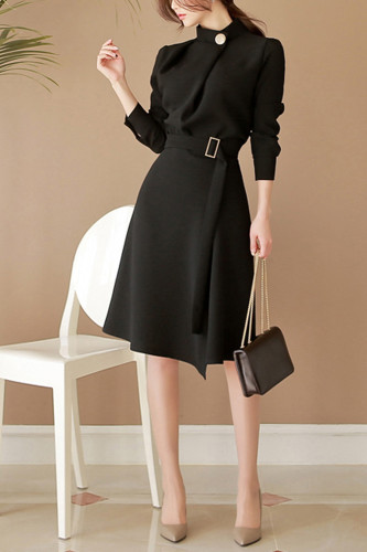 Women Slim Stand Neck Casual Sashes Button Dresses