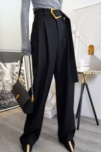 Wide Leg Pants Women High Waist Sashes Loose Trousers