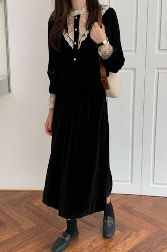 Lace Stand Collar Elastic Waist Velvet Dress