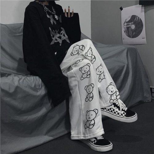 Wide Leg Pants Cartoon Print Harajuku Trousers