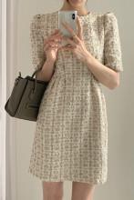 Women Chic Short Sleeve Tweed Plaid Mini Dress