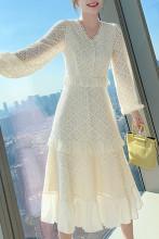 Women's V-Neck Long Sleeve Ruffle Slim Waist Dress