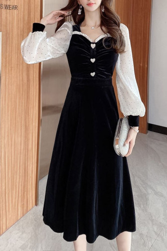 Vintage Pleated Velvet Long Dress V-Neck Elegant Slim Outfits