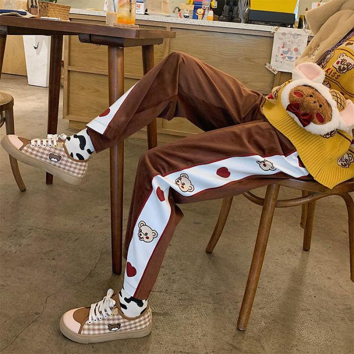 Vintage Corduroy Pants Loose Casual Straight Leg Trousers