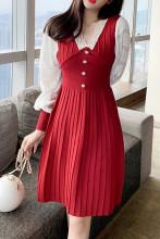 Elegant Sweater Dresses Lace Patchwork A-Line Dresses