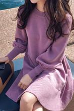 Women Knitting Oversize Lantern Sleeve Mini Sweater Dresses