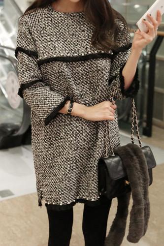 Tweed Dress Women Bead And Tassel Woolen Blend Dresses