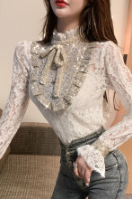 Women's Blouse Shirt Flare Sleeve Sequins Lace Tops