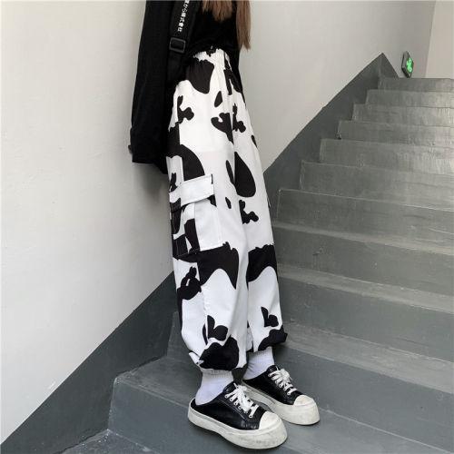 Cow Print Pants Women Vintage Loose Wide Leg Pants