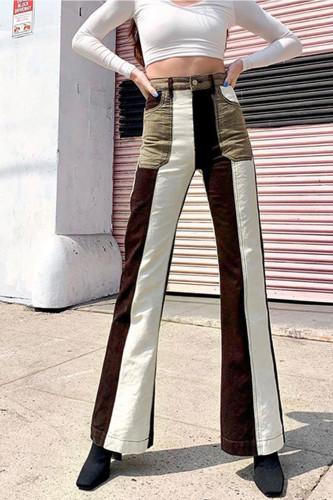 Casual High Waist Denim Flare Long Pants