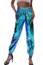 Metallic Shiny Jogger Pants Hip Hop High Waisted Trousers