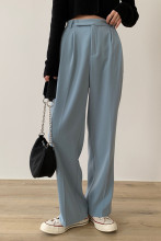 Casual Loose Suit Pants Pockets Full-length Straight Pants