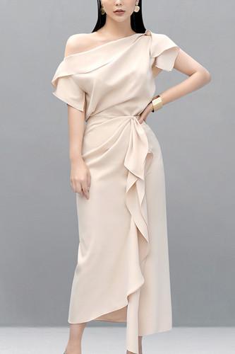 Party Dress Slash Neck Tops & High Waist Ruffles Long Skirt