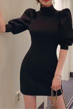 Women's Vintage Stand Collar Puff Sleeve A-Line Mini Dress
