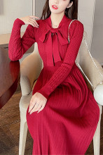 Women Elegant Slim Sweet A-Line Party Knitted Sweater Dress