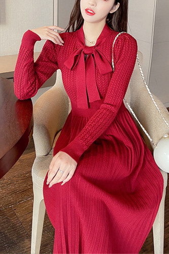 Women Elegant Slim Sweet A-Line Party Knitted Sweater Dress