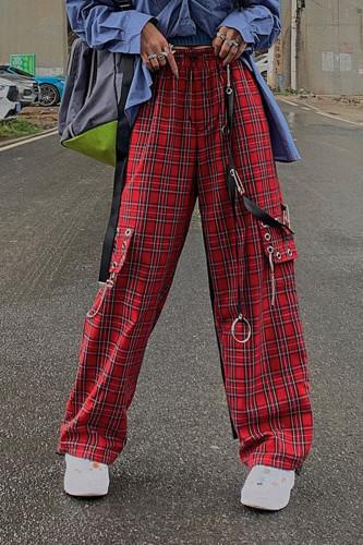 Hip Hop E-girl Punk Chain Cargo Pants Harajuku Plaid Pants