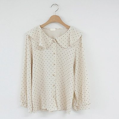 Polka Dot Shirts Button Long Sleeve Ruffled Tops