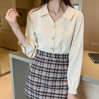 Office Lady Chiffon Blouse Long Sleeve Shirt