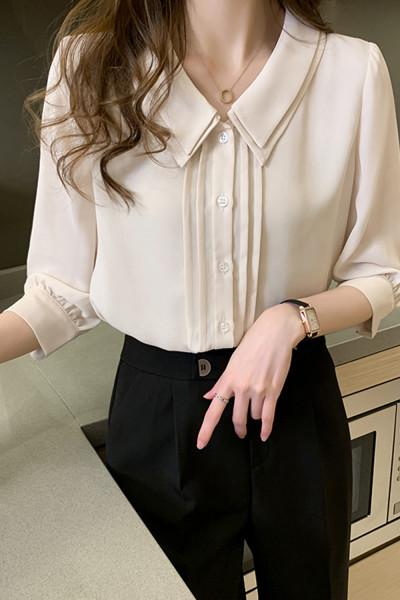 Peter Pan Collar Pullover Shirt Casual Button Chiffon Blouse