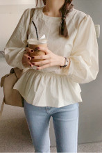 Ruffle Sashes Casual Blouse Long Sleeve Shirts