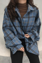 Oversized Plaid Shirts Blouse Cotton Long Sleeve Blouses